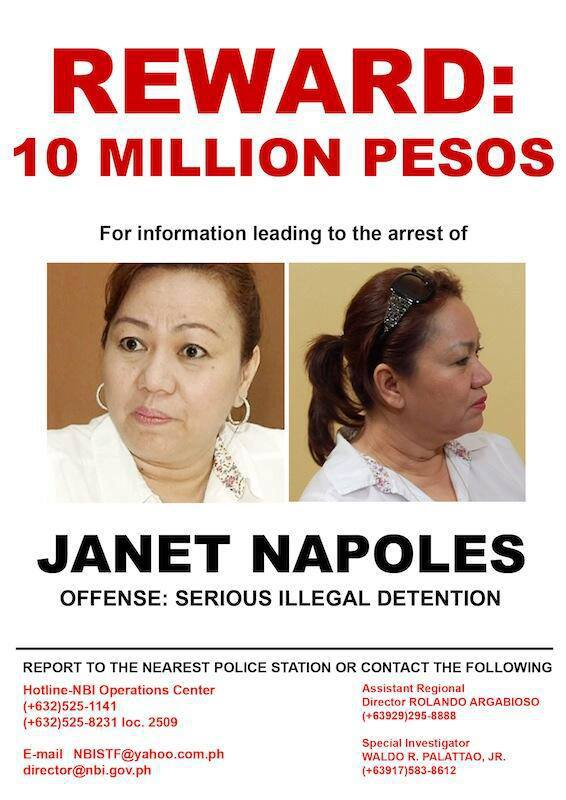 WANTED: PHP 10 MILLION REWARD for JANET LIM NAPOLES