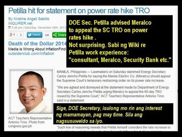 Secretary of Energy Petilla defends power industry regarding price hikes. Sino na ang kakampi sa mga pangkaraniwang mamamayan? https://www.facebook.com/events/240705966092984/