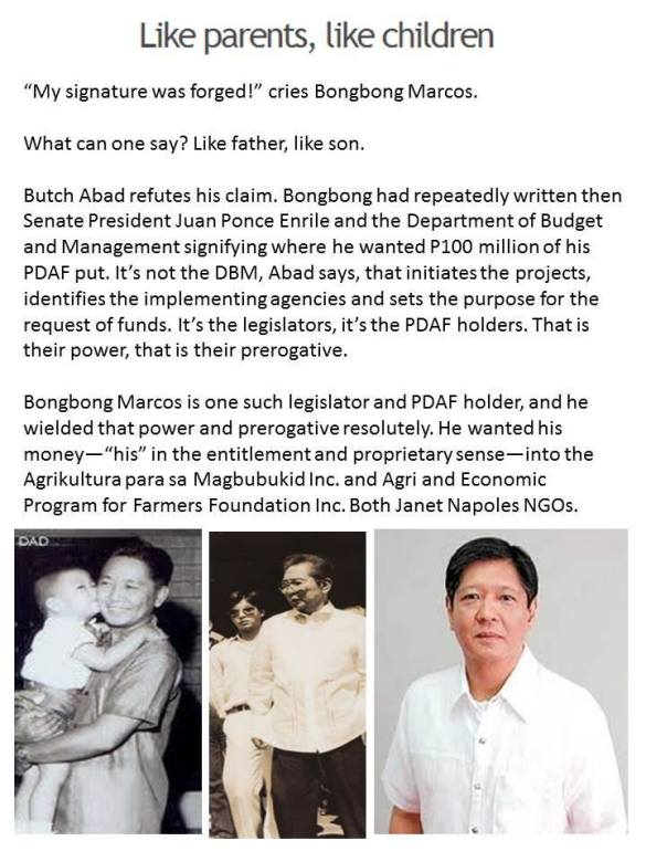 Marcos children administer ill-gotten wealth, live it up in style. It pays to STEAL in the Philippines, STEAL BIG that is (petty thieves go to jail). http://newsinfo.inquirer.net/602359/children-didnt-help-marcos-amass-wealth-says-lawyer Former First Lady Imelda still a fashion icon.
