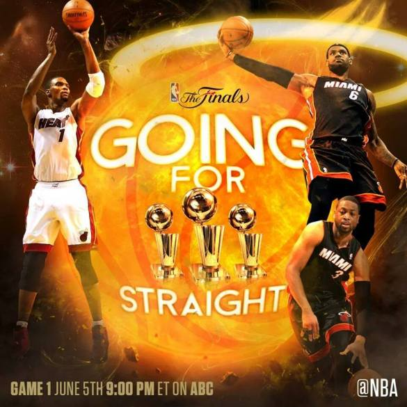 Miami wins Eastern Conference Finals, gunning for three-peat in NBA Finals. https://www.facebook.com/groups/344821348978048/