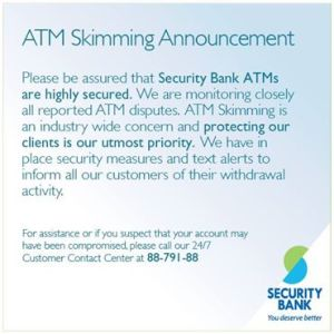 security bank announcement