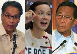 Survey fourth-running Mar Roxas and second-placing Binay awaiting decision of third-placer Mayor Duterte as front-runner Grace Poe announces plan to run for President.