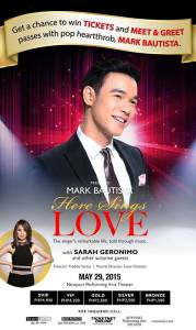 Martin Bautista May 29, 2015 Concert will feature Philippine Pop Princess Sarah Geronimo