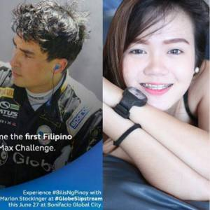 Pinoy international racing car driver Marlon Stockinger and car show model Mitchie Bongon (page admin of https://www.facebook.com/CarShowModels)