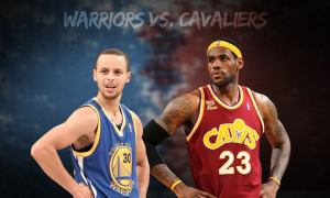 2015 NBA Finals . Golden State Warriors versus Cleveland Cavaliers. Curry versus James. Golden State leads the Championship Series at 3 - 2.