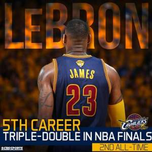 Lebron James got his 5th career NBA Finals triple double