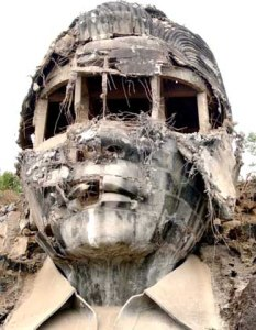 Dictator Ferdinand Marcos statue FITTINGLY blasted and DEFACED in a symbol of WRATH and ANGER for his regime. NEVER Again to Martial Law. NEVER Again to Marcos Rule.