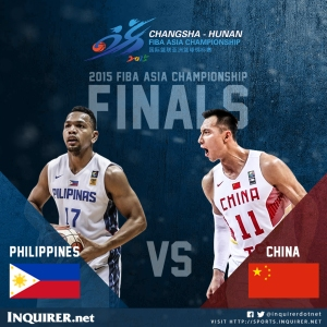 Gilas Pilipinas plays China for the FIBA Asia Championship. The winner earns a slot to the Rio summer Olympics.