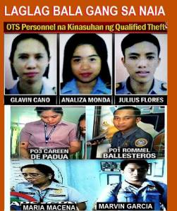 Airport security contractual personnel and officials of the Philippine National Police (just recently under DILG Secretary Mar Roxas) are implicated in the EXTORTION SCHEME called Tanim or Laglag Bala (Plant a Bullet or Drop a Bullet in the luggage of airline passengers).